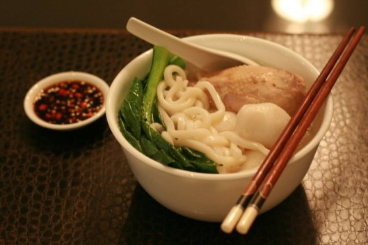 Udon soup in Chicken broth served with cut chilli padi and soy sauce