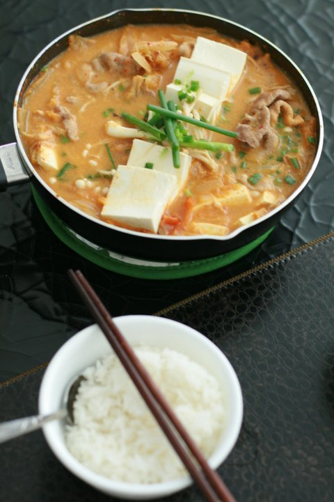 A spicy sour soup, kimchi jiggae goes well with rice or can be eaten on its own