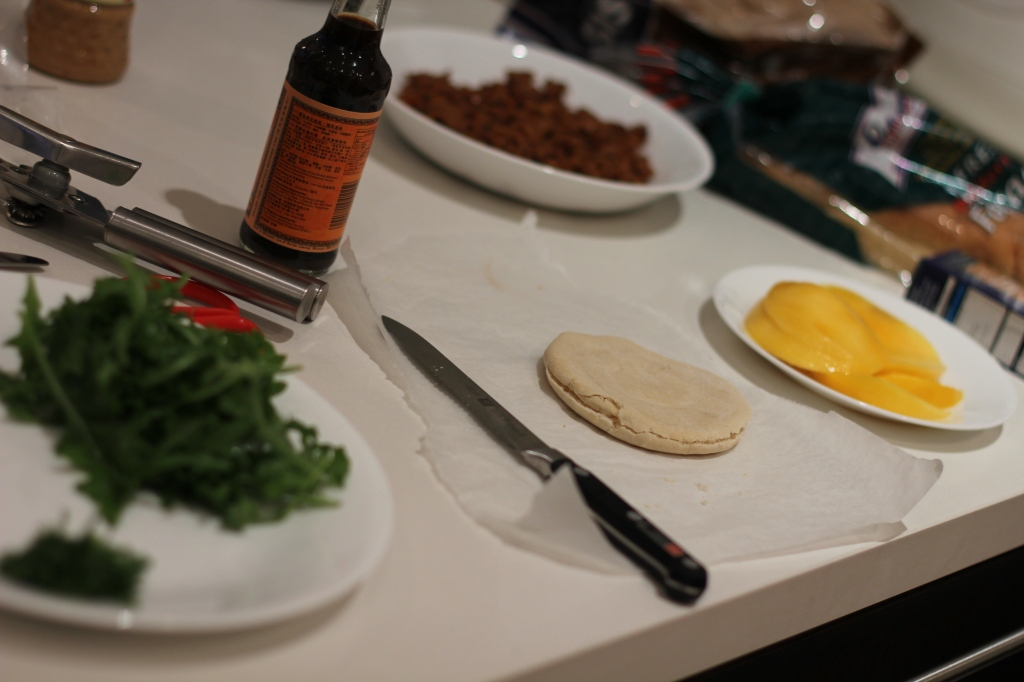 Greek sloppy joe ingredients: Green yoghurt, pita bread, tomato sauce, worchestire sauce, mango, lamb mince, mint, arugula